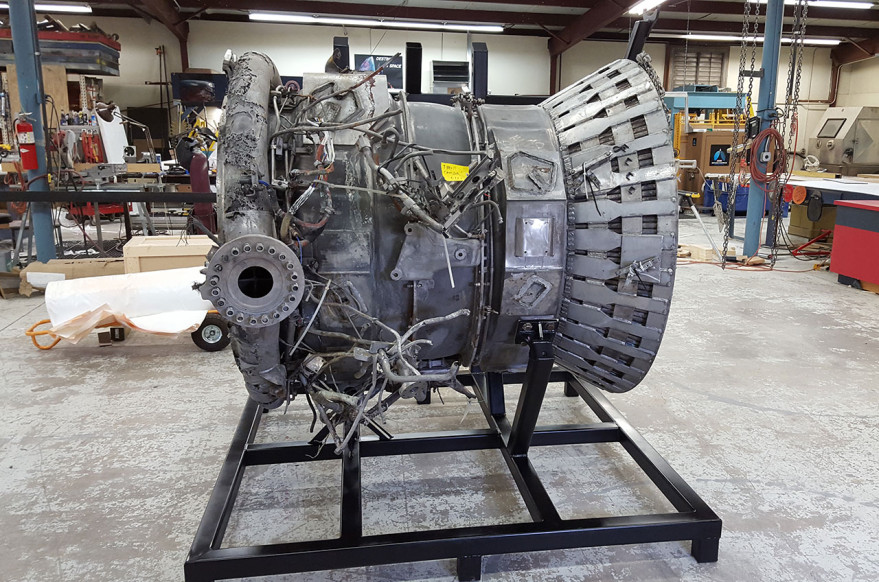 The thrust chamber from the no. 3 F-1 engine that launched Apollo 12 in 1969 is now a part of the collection at The Museum of Flight in Seattle. The rocket engine part was among the Apollo artifacts found and recovered by Bezos Expeditions.