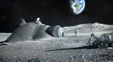 """""""A Moon Village,""""  ESA director-general Johann-Dietrich Woerner said in 2015 """"shouldn't just mean some houses, a church and a town hall."""" It could be beacon of international and even commercial cooperation. Credit: ESA artist's concept of a lunar outpost"""
