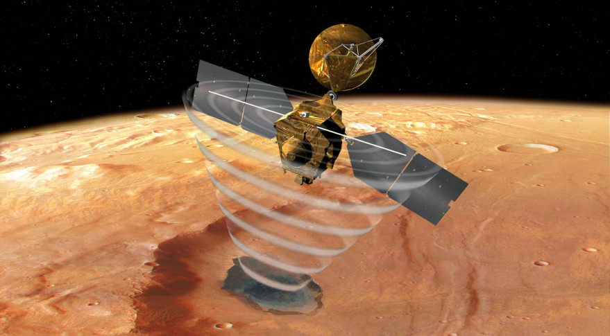 Artist's concept of NASA's Mars Reconnaissance Orbiter using its sounding radar to probe beneath the Martian surface to see if water ice is present at depths greater than one meter. Credit: NASA/JPL