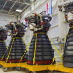 Aerojet Rocketdyne signed a $1.16 billion contract with NASA to restart production of the RS-25 engines that will be used on future launches of the Space Launch System heavy-lift rocket. The company has been building RS-25 engines since the space shuttle program. Credit: Aerojet Rocketdyne