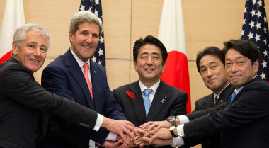 Japanese Prime Minister Shinzo Abe, center, shakes hands at the beginning of a 2013 meeting with then-U.S. Defense Secretary Chuck Hagel, U.S. Secretary of State John Kerry, Japanese Minister of Foreign Affairs Fumio Kishida and Minister of Defense Tsunami Onodera. Credit: Erin A. Kirk-Cuomo via Wikipedia