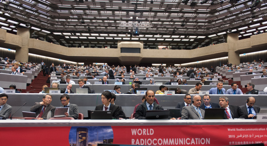 A WRC-15 plenary session on global flight tracking convened Nov. 11 in Geneva. Credit: ITU / D. Woldu