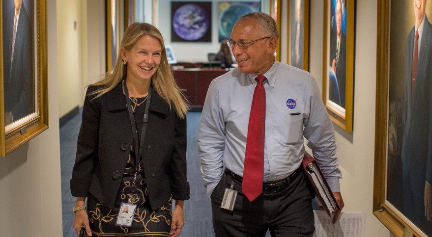NASA Deputy Administrator Dava Newman walks to a meeting with NASA Administrator Charles Bolden on May 18, her first day on the job at NASA Headquarters. Credit: NASA/Bill Ingalls