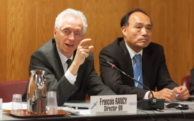 """Francois Rancy, director of the ITU's Radiocommunication Bureau, said at a Nov. 27 news conference that the added push for terrestrial networks in the 3.4-3.6-gigahertz bands in the Americas, Europe and Africa, plus individual Asia-Pacific nations' statements, added up to a """"nearly global allocation"""" for terrestrial networks. Credit: ITU/D. Woldu"""