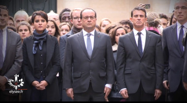 French President Francois Hollande (center) observes a minute of silence Nov. 16 at the Sorbonne in Paris. Credit: Elysee.fr video