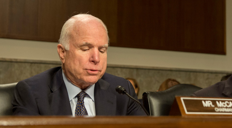 U.S. Sen. John McCain (R-Ariz.) during a Senate Armed Services Committee hearing in October.  Credit: Adrian Cadiz/OSD/Flickr