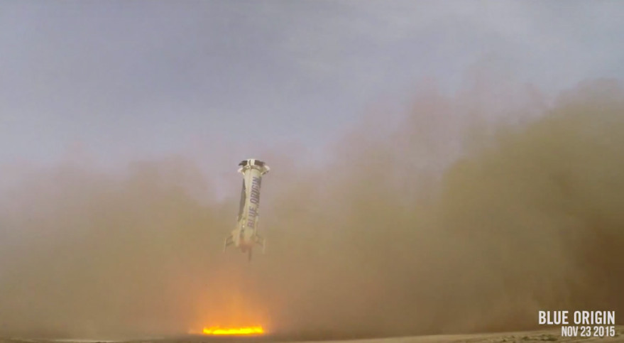 Blue Origin's New Shepard vehicle coming in for a landing Nov. 23 after reaching a peak altitude of 100.5 kilometers and top speed of Mach 3.72. Credit: Blue Origin video