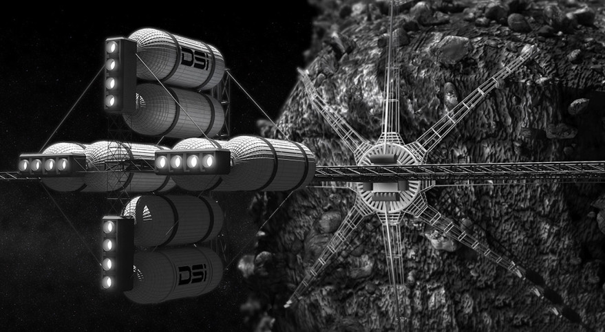 A Deep Space Industries concept for a spacecraft that could retrieve space resources from the surface of an asteroid. Credit: Bryan Versteeg / DSI