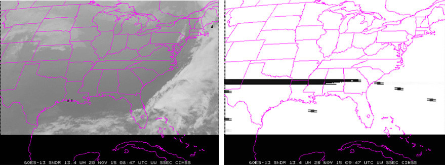 University of Wisconsin engineers captured these side-by-side images showing how GOES-13's jammed filter wheel affected the satellite's infrared channels (Credit: CIMSS Satellite Blog)