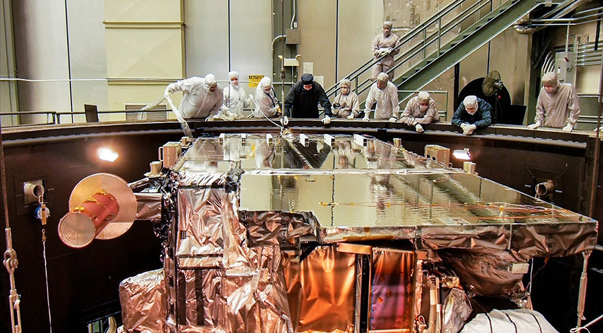 GOES-R satellite in thermal vacuum testing. Credit: Lockheed Martin