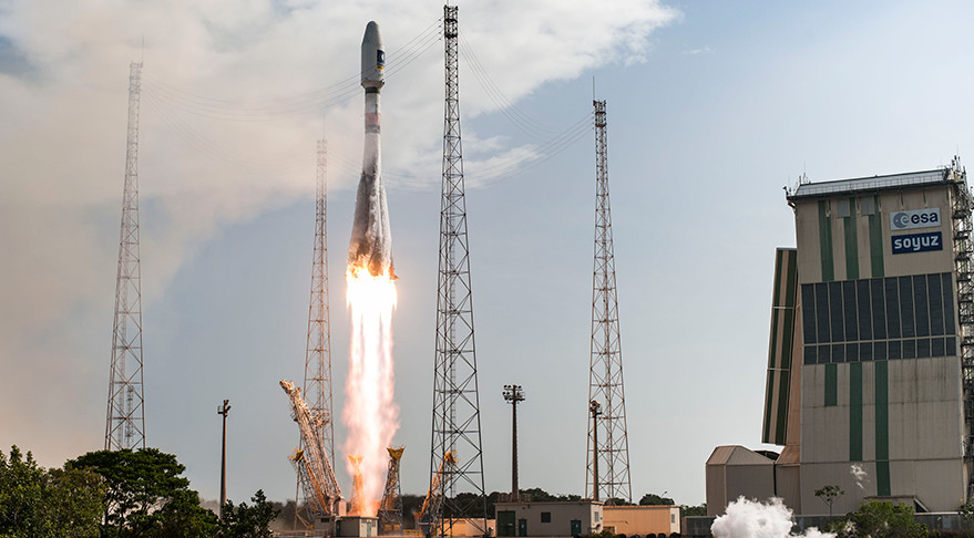 A Europeanized Russian Soyuz rocket launches the 11th and 12th Galileo satellites from Europe's Guiana Space Center. Credit: ESA/CNES/Arianespace/Optique Video du CSG/S. Martin