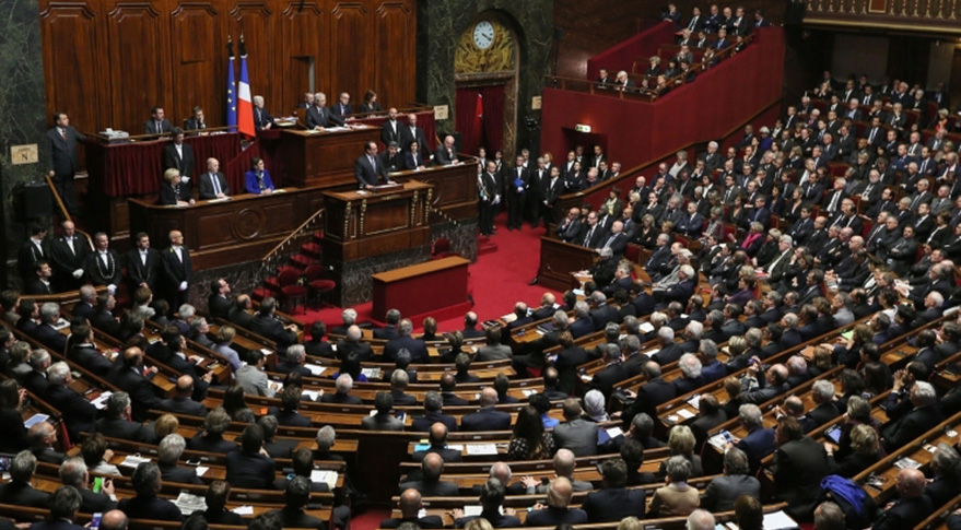 French President Francois Hollande addresses parliament after the Paris terrorist attacks. Credit: French President's Office/C. Alix M. Etchegoyen