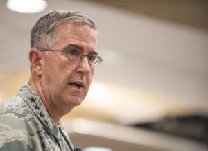 Caption: U.S. Air Force Gen. John Hyten, commander of Air Force Space Command  Credit: U.S. Army National Guard/Staff Sgt. Adam Fischman