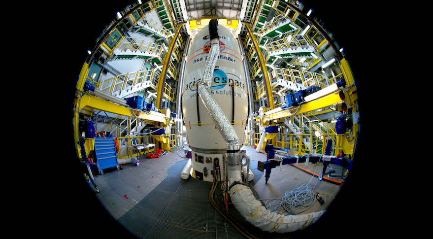 In this  ESA image, taken with an ultra-wide angle fisheye lens Nov. 19, the LISA Pathfinder spacecraft is hidden from view, encapsulated in the upper stage of its Vega rocket.