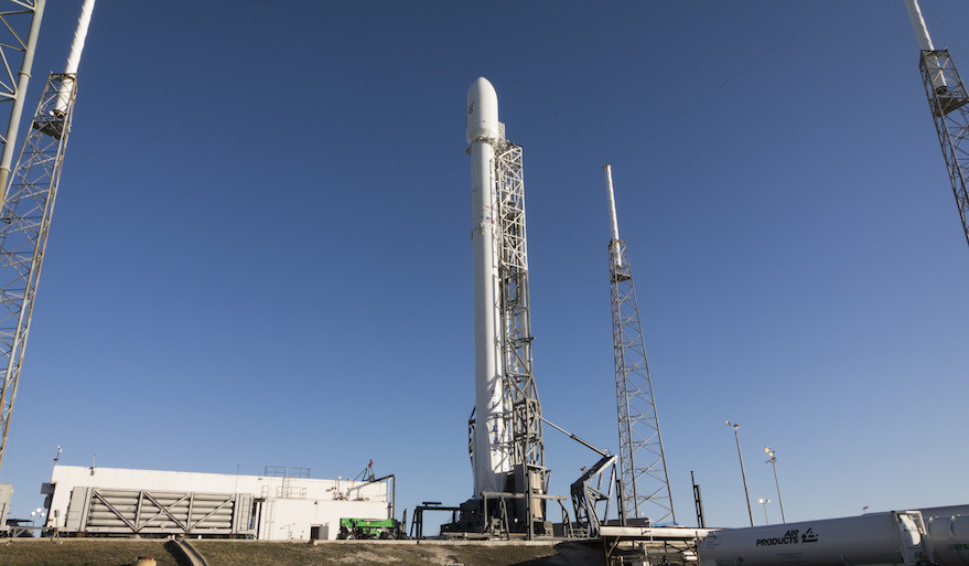 Orbcomm posted this photo Dec. 17 of the Falcon 9 rocket that will carry its 11 satellites to orbit perhaps as soon as this weekend. Credit: Orbcomm