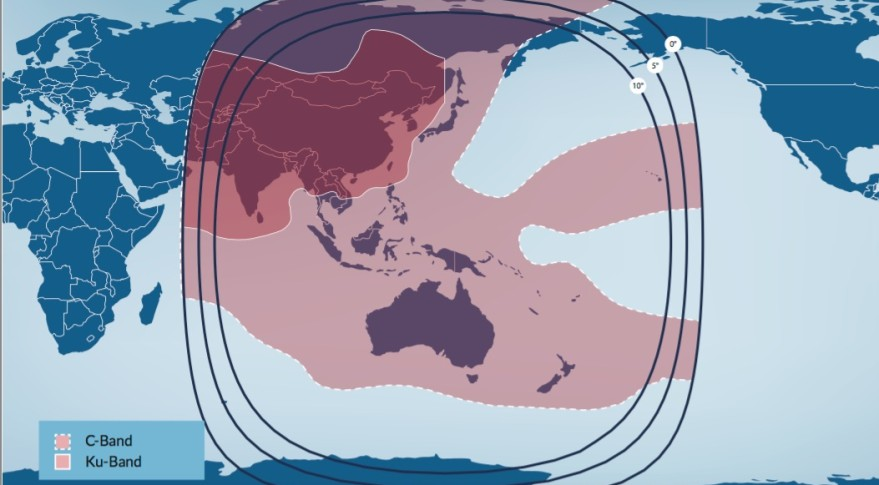 The new jointly owned satellite will replace Telstar 18/Apstar-5 at 138 degrees, whose coverage area includes China, Mongolia, Southeast Asia and the Pacific Ocean region. Credit: Telesat