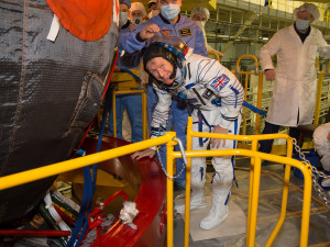 ESA astronaut Tim Peake trying on his Sokol flight suit early this month. ESA says Soyuz astronauts get to try their spacecraft and suits for the first time two weeks before  launch.  Credit: NASA/Victo​r Zelentsov
