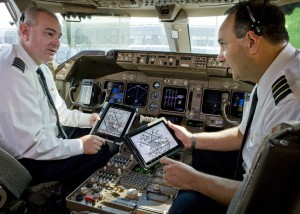 As iPads and other web-connected devices proliferate among airline passengers and pilots alike, it's an open question which group will be the biggest driver of inflight broadband demand. Credit: United Continental Holdings