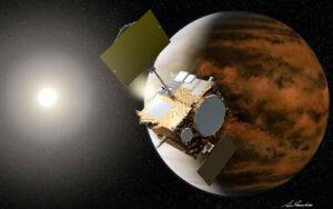 Artist's concept of the Japan Aerospace Exploration Agency's  Akatsuki orbiter  approaching Venus (JAXA illustration).