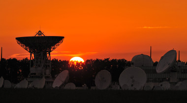 Is the sun beginning to set on satellite telecom operators' traditional business models? Hardly, Eutelsat executive assured investors Dec. 1 at Capital Markets Day event (Eutelsat photo of Rambouillet Teleport outside Paris).