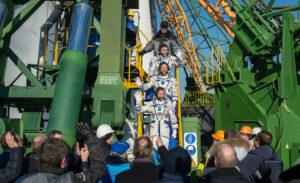 Expedition 46 Soyuz Commander Yuri Malenchenko and  flight engineers Tim Kopra of NASA, center, and  Tim Peake of ESA farewell prior to boarding the Soyuz TMA-19M rocket for launch Dec. 15 from Baikonur Cosmodrome. Credit: NASA/Joel Kowsky