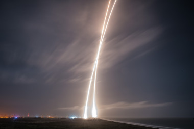 Time-elapsed photo shows the successful Dec. 21 launch and landing of Falcon 9's first stage. Credit: SpaceX