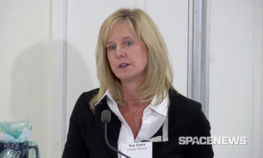 Intelsat General President Kay Sears introducing a Dec. 15 panel discussion on the DoD's pivot to commercial satellite communications. Credit: SpaceNews