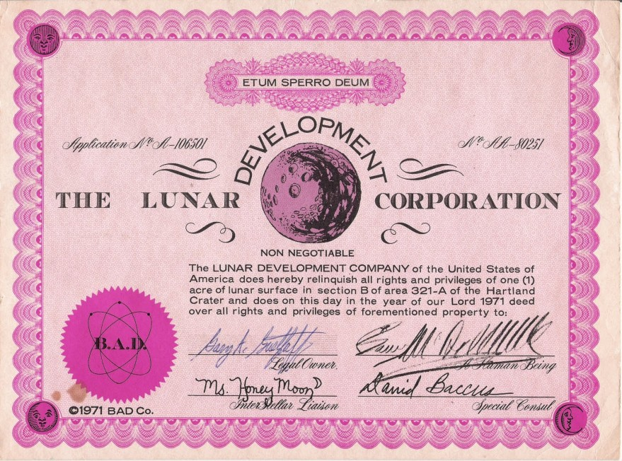 A share issued by the Lunar Development Corp. in 1971 entitling the bearer to one acre of lunar surface (isoldthemoon.com).