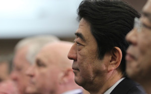 Japanese Prime Minister Shinzo Abe at a Center for International and Strategic Studies event in 2013 (CSIS photo).