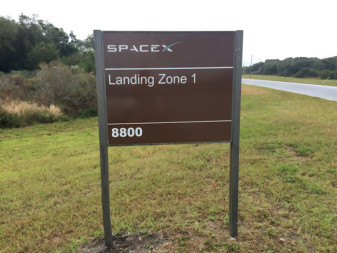 A sign at Cape Canaveral Air Force Station marking SpaceX's Landing Zone 1. Credit: SpaceX/Flickr