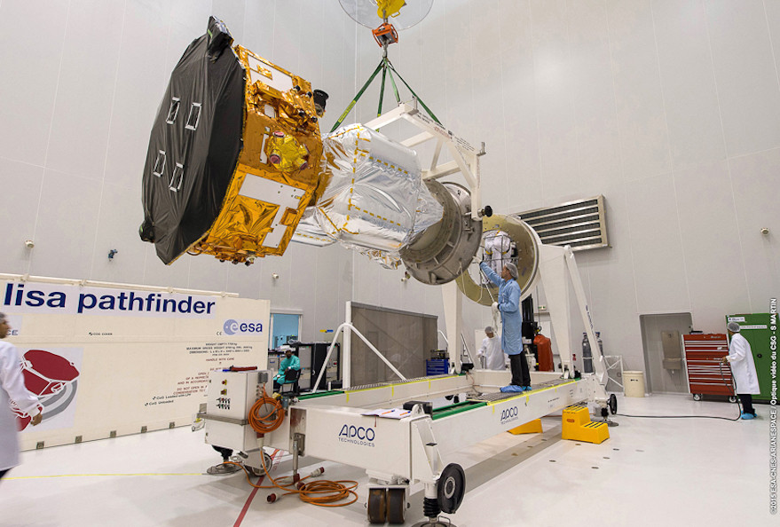 After removal from its transport container, LISA Pathfinder is transferred to a work dolly in a high bay at Guiana Space Centre in Korou (ESA photo).