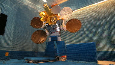 Eutelsat 9B, with a combined television and data-relay mission, in the Airbus cleanroom in Toulouse, France. CREDIT: Airbus