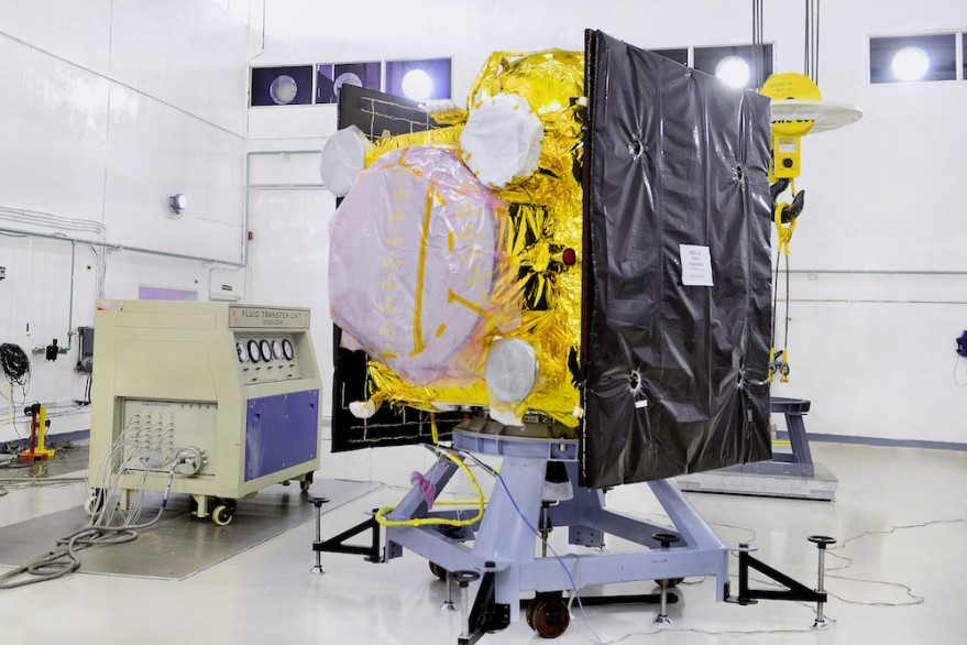 Like its predecessors,  the 1,425-kilogram IRNSS-1E satellite has two payloads:  a navigation payload operating in L5-band and S-band; and a ranging payload consisting of a C-band transponder and retro reflectors for laser ranging. A Rubidium atomic clock is part of the navigation payload for navigation and ranging.  Credit: ISRO