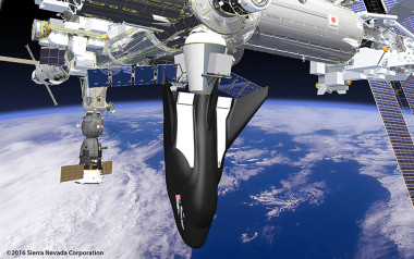 A cargo version of Sierra Nevada Corp.'s Dream Chaser vehicle attached to the International Space Station in this illustration. Credit: Sierra Nevada Corp.