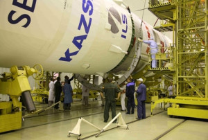 Upper stage of the ILS Proton rocket that launched SES-3 and KazSat-2 in 2011.  Credit: Khrunichev State Research and Production Space Center