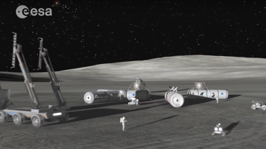 "A video still from ESA's ""The Moon Awakens"" video outlining the agency's rationale for making the Moon ""our next destination on this journey."" Credit: ESA/SpaceNews"