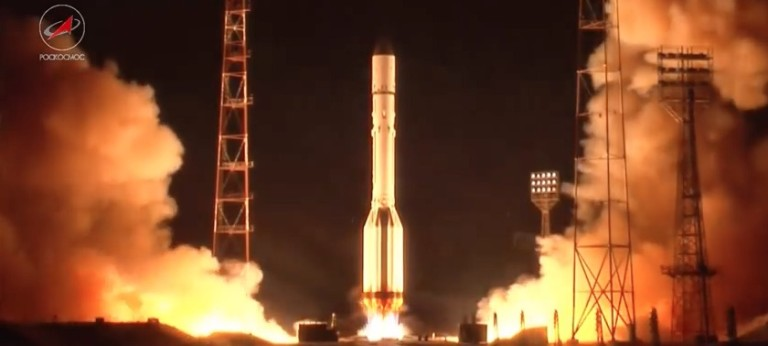 The U.S. Air Force said Jan. 20 a Russian rocket body from a Dec. 13, 2015 launch, pictured above,  may have broken up and created at least 10 pieces of debris. | Credit: Roscosmos.