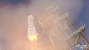 Blue Origin's New Shepard lifts off Jan. 22 from its West Texas test site. Credit: Blue Origin