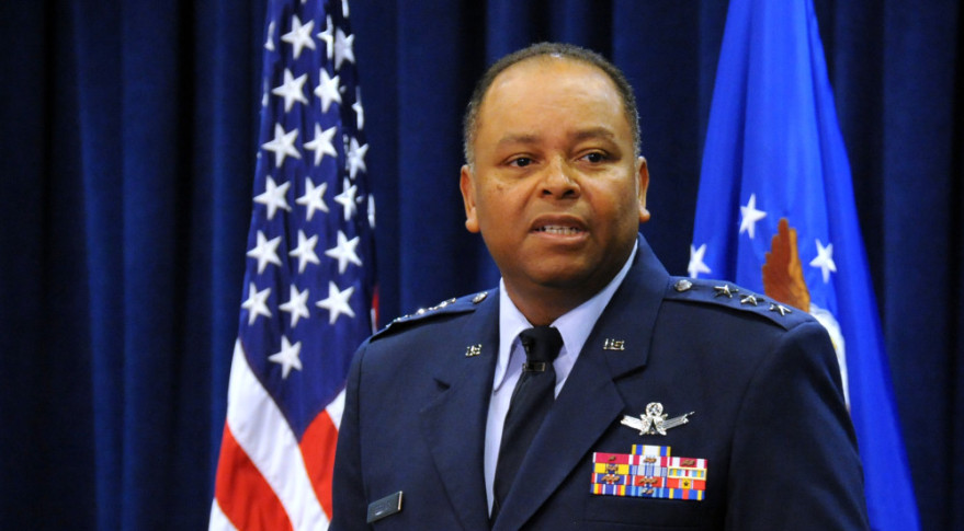 Lt Gen Samuel Greaves, commander of the Space and Missile Systems Center, officiates and activates the Lauch Enterprise at a ceremony in Gordon Conference Center, 14 Oct, 2015. Mrs. Leon stood up as the new director of the Launch  Enterprise directorate, presenting a display of the new shield that  sympolizes  goal, strength, and through boldness to the stars.