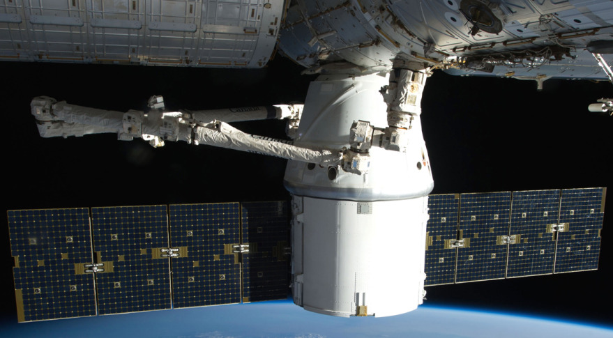 A SpaceX Dragon cargo spacecraft berthed to the International Space Station. Credit: NASA