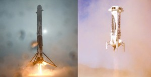 SpaceX and Blue Origin have taken big steps toward reusability with the successful landing of their Falcon 9 (left) and New Shepard (right) boosters.  Credit: SpaceX/Blue Origin