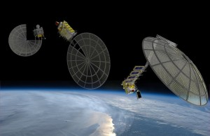 A Made in Space artist's concepts of so-called Archinauts 3D-printing satellite reflectors in space.