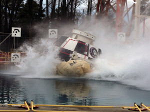 Engineers from NASA's Langley Research Center in Hampton, Virginia, and Boeing dropped a full-scale test article of the company's CST-100 Starliner into Langley's 20-foot-deep Hydro Impact Basin. Although the spacecraft is designed to land on land, Boeing is testing the Starliner's systems in water to ensure astronaut safety in the unlikely event of an emergency during launch or ascent. Testing allows engineers to understand the performance of the spacecraft when it hits the water, how it will right itself and how to handle rescue and recovery operations. The test is part of the qualification phase of testing and evaluation for the Starliner system to ensure it is ready to carry astronauts to and from the International Space Station.  Credit: NASA/David C. Bowman