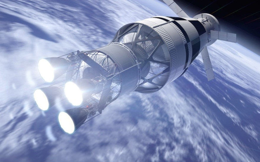Artist's concept of a four-engine Exploration Upper Stage for NASA's Space Launch System. Credit: Boeing