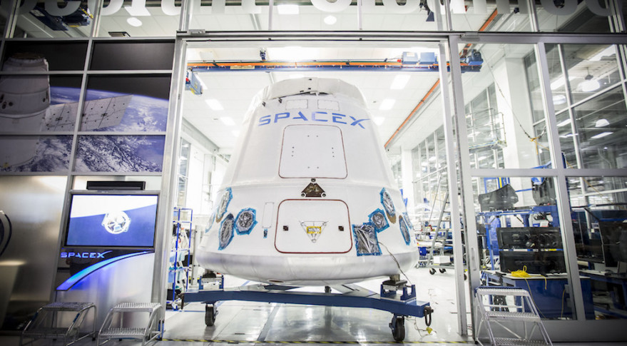 A Dragon capsule leaving SpaceX's Hawthorne, California, headquarters in 2015. Credit: SpaceX