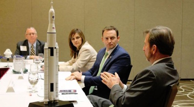 U.S. Senate hopeful Patrick Murphy, second from right, meeting Feb. 5 with the Economic Development Commission of Florida's Space Coast. Credit: Patrick Murphy for U.S. Senate via Facebook