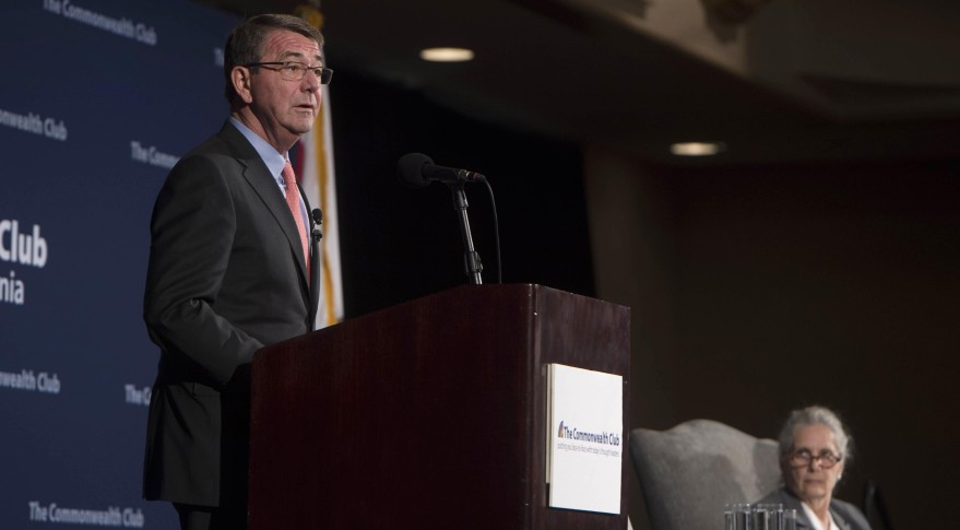 U.S. Defense Secretary Ash Carter addresses San Francisco's Commonwealth Club of California. Credit:  Navy Petty Officer 1st Class Tim D. Godbe