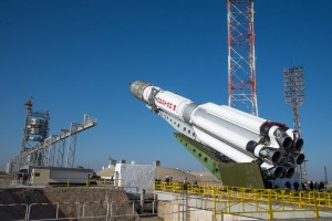 The Proton rocket carrying the European-Russian ExoMars mission on the launch paid at Baikonur Cosmodrome in Kazakhstan on March 11. Credit: ESA