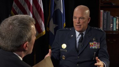 Lt. Gen. Jay Raymond, the Air Force's deputy chief of staff for operations, talks with Mike Gruss of SpaceNews. | Credit: Michael Moser.