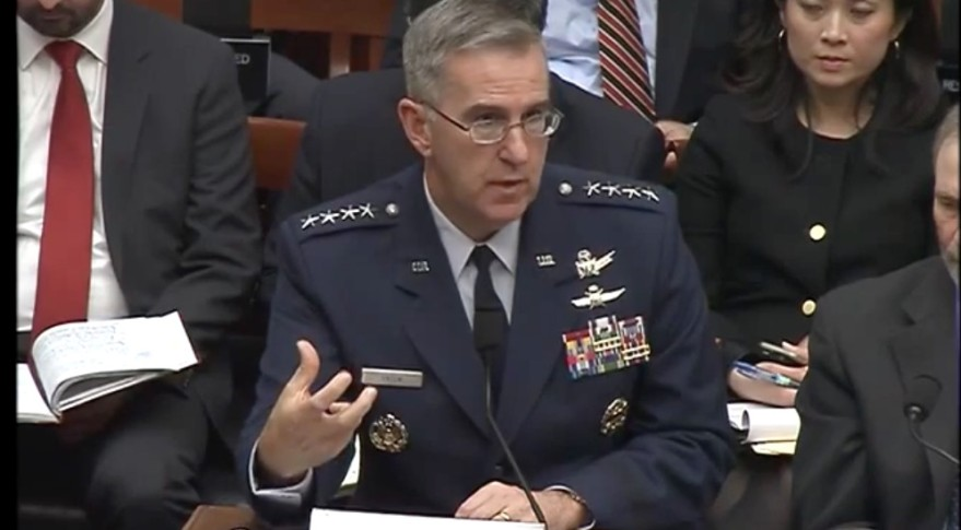 "Gen. John Hyten, the head of Air Force Space Command, said the Pentagon's most recently launched weather satellite is ""about dead."" Credit: House Armed Services Committee screen grab."